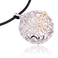 eJOYA Oval Çiçekli Gümüş Kolye 601017