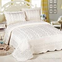 Cotton House Home Collection Nubuk Varaklı Safran Çift Kişilik Yatak Örtüsü - Silver