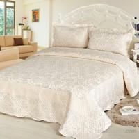 Cotton House Home Collection Nubuk Varaklı Siena Çift Kişilik Yatak Örtüsü - Silver