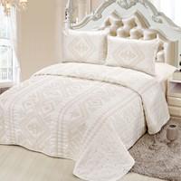 Cotton House Home Collection Deluxe Saten Çift Kişilik Yatak Örtüsü - Santow