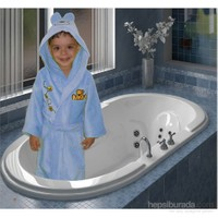 Elegans Kapşonlu Çocuk Bornozu 1-2 Yaş Mavi
