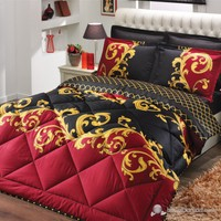 Soley Oriental Bordo Çift Saten Uyku Seti