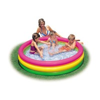 Intex 3 Halkalı Gökkuşağı Renkli Yumuşak Taban Şişme Havuz ( 114 cm x 25 cm )