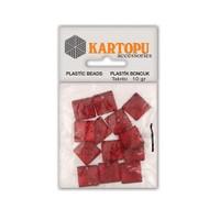 Kartopu Kırmızı Kare Resin Taşı Dikilebilen Plastik Boncuk - Rt2