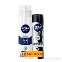 Nivea Tıraş Jeli Hassas + Nivea Sprey Black&White Power 150 ml