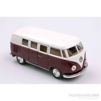 Kahve 1962 Volkswagen Classical Bus 1/32 Çek Bırak Die-Cast Model Araç