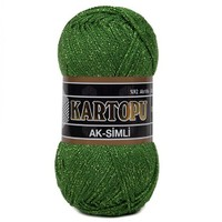 Kartopu Ak-Simli Yeşil El Örgü İpi - K392