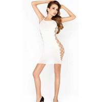 Vixson Yan Bölgesi Fileli Beyaz Sexy Kıyafet