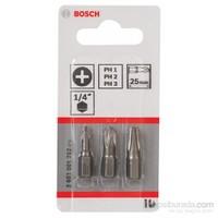 Bosch - 3 Parçalı Ekstra Sert Serisi Vidalama Ucu Seti (Ph) - Ph1; Ph2; Ph3; 25 Mm