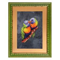 Duftin Papağan Desenli Minik Düğümle İşleme Etamin Kiti - 13003-Aa0272