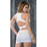 Merry See Beyaz Arkası Çapraz Şık Seksi Elbise Beyaz