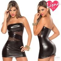 Liona Deri Görünümlü Siyah Pullu Fantezi Elbise