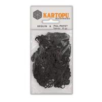 Kartopu Siyah Kalp Figürlü Figürel Pul Payet - Pp4