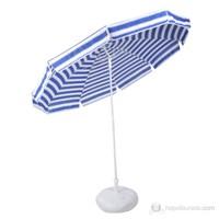 Belde Şemsiye - F 200 Delüks Mavi Beyaz Plaj Şemsiyesi 2 Metre Gölgelik Alanı Katlanır Ve Eğilebilir