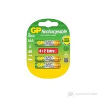 GP 6'lı ReCyko 650 Serisi Ni-Mh Şarj Edilebilir AAA İnce Pil (GP65AAHCE4/2BB-P6)
