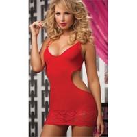 Merry See Kırmızı Mini Arkadan Dekolteli Elbise Kırmızı