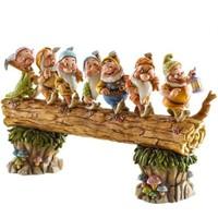Disney Traditions Enesco Seven Dwarfs Walking Over Fallen Log Figurine