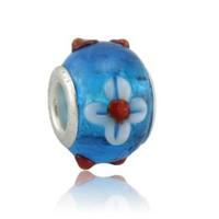 Angemiel Mavi Cam Püskürtme Çiçekli Murano Charm İle Kendi Tarzını Yarat