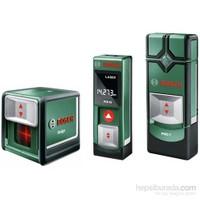 Bosch PLR 15 Lazermetre + PMD 7 Dijital Tarama Cihazı + Quigo Çapraz Lazer