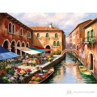 Art Puzzle 1000 Parça Puzzle Flower Market On The Canal