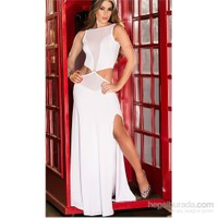 Terry Pau Tp101092 Önü Broşlu Transparan Uzun Seksi Elbise