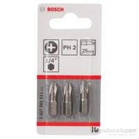 Bosch - 3'Lü Paket - Ekstra Sert Seri Vidalama Ucu - Ph 2, 25 Mm