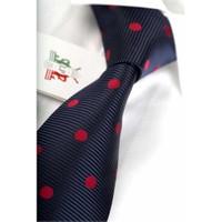 La Pescara Lacivert Kırmızı Puantiyeli Klasik Kravat Pk1311