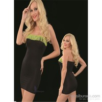 La Blinque Mini Yeşil Püsküllü Siyah Seksi Elbise