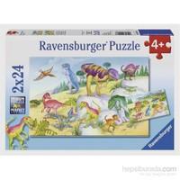Renkli Dinazorlar (2X24 Parça Puzzle)