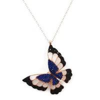 Beyazıt Takı 925 Ayar Gümüş Siyah Mavi Üç Boyutlu Kelebek Kolyesi
