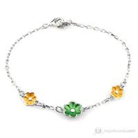 Goldstore Üçlü Çiçek Mineli Gümüş Bileklik Sp28005