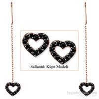 Tesbihane 925 Ayar Gümüş Siyah Zirkon Taşlı Açık Kalp Model Japon Sallantılı Küpe