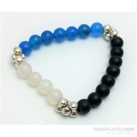Cecilia Collection Mavi Akik, Aytaşı ve Onix Doğal Taş Bayan Bileklik