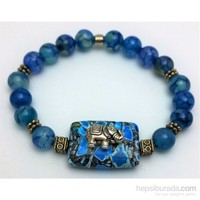 Cecilia Collection Mavi Damarlı Akik Doğal Taş Bayan Bileklik