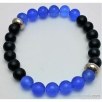 Cecilia Collection Mavi Onix ve Akik Doğal Taş Erkek Bileklik