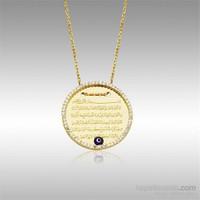 Sheamor Çerçeve Taşlı Nazar Boncuklu Ayet-El Kürsi Altın Kolye