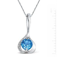 Bella Gloria 925 Ayar Gümüş Üzeri Altın Kaplamalı Pırlanta Mavi Topaz 'Birtanem' Burç Kolyesi (GK00119)