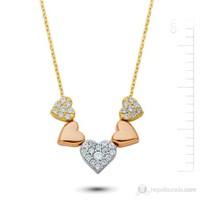 Bella Gloria Altın 5 Kalp Kolye (Pp78185)