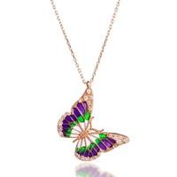 De Hari's Renkli Mineli Kelebek Gümüş Kolye