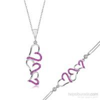 Tekbir Silver Gümüş Üç Kalp Set