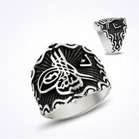Mina Silver Osmanlı Tuğra Vav Taşsız Erkek Gümüş Yüzük