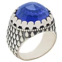 Chavin Kristal Mavi Taşlı Gümüş Erkek Yüzük Be35