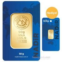 Nadir Gold 24 Ayar Külçe Altın 50 Gr - 0,50 Gr Külçe Altın Hediye