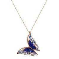 Beyazıt Takı 925 Ayar Gümüş Mavi Üç Boyutlu Nazar Boncuklu Kelebek Kolyesi