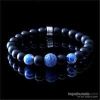Takıcadde Siyah Mat Oniks Mavi Lav Taşı Doğal Taş Bileklik