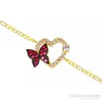 Melis Gold Altın Kalpli Kelebek Bileklik Zb000047