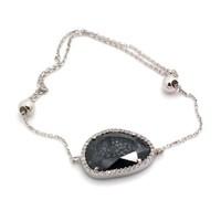 İndigo Takı Siyah Sedef Taşlı Gümüş Bileklik
