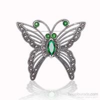 Tekbir Silver Gümüş Markazit Taşlı Kelebek Broş