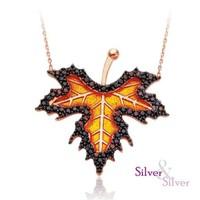 Silver & Silver Çınar Yapragı El Yapımı Mine Kolye