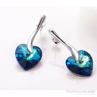 Monemel Mavi Swarovski® Taşlı Kalp Küpe Gümüş